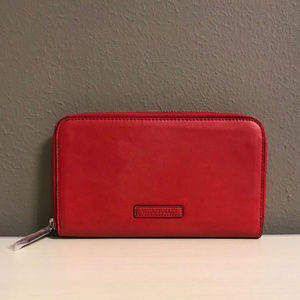 Faux Leather Accordion Wallet in Tango Red